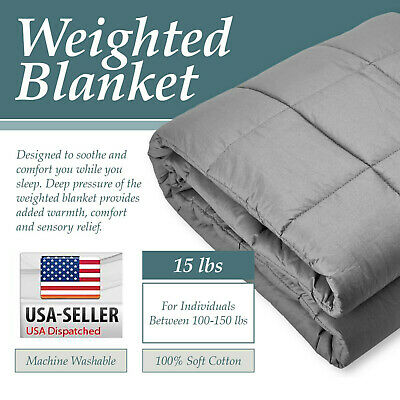 Heavy Weighted Blanket Twin / Queen Size 15lb Deep Sleep Reduce Anxiety