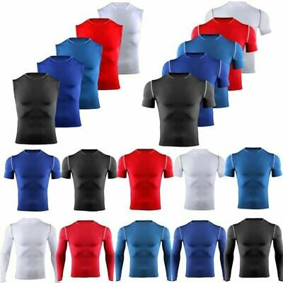 Mens Compression Vest Base Layer Top Athletic Gym Sports Muscle Slim Fit T-Shirt