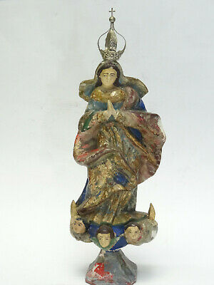 ANTIQUE 18c POLYCHROME MADONNA IMMACULATE CONCEPTION SCULPTURE Neapolitan School