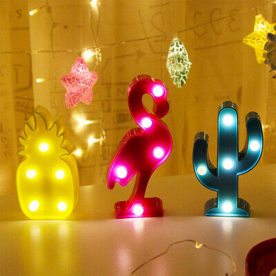 Cute Flamingo Led Night Light Animal//Fruit Shape Marquee LED Lamps on Wall for