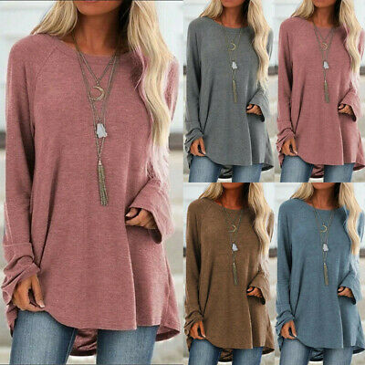 Womens Long Sleeve Loose Tunic Tops Ladies Baggy Jumper Pullover Blouse L-5XL UK