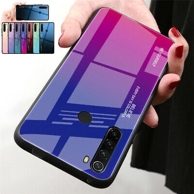 New For Xiaomi Redmi 8 8A Note 8 Pro Gradient Tempered Glass TPU Back Case Cover