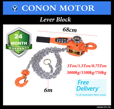 Lever Block  6M Comealong Chain 3T/1.5T/0.75T Manual Operated Lifting Tool