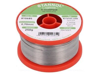 Solder Wire with Flux Lead Alloy Sn60/Pb40 0.7mm STANNOL 250g Reel Soldering NEW