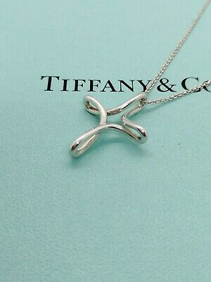 Authentic Tiffany & Co Infinity Cross Pendant Necklace Sterling Silver 16 inch