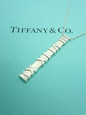 Authentic Tiffany & Co Atlas Roman Numeral Bar Matte Pendant Necklace 925