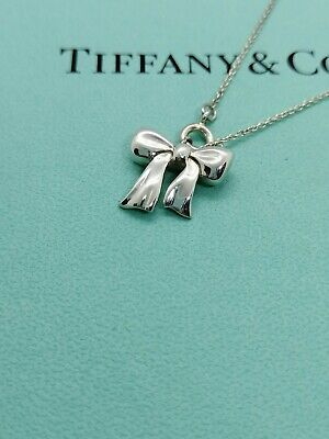 Authentic Tiffany & Co. Ribbon Pendant Necklace Sterling Silver 16inch