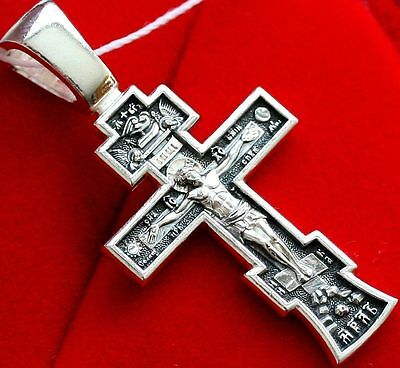Save And Protect Prayer Russian Body Cross Silver 925 Orthodox Jewelry New Sale