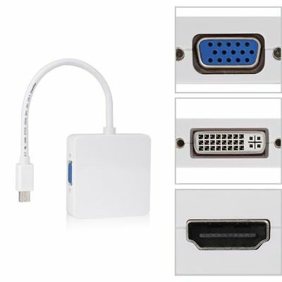 3In1Mini Display Port DP Thunderbolt to DVI VGA HDMI Adapter Cable For MacBook Q