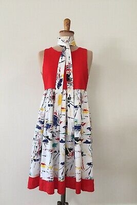 Vintage style Red 80s 90s graphic abstract crinkle Swing dress Size AU 8 - 10