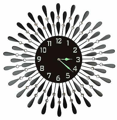 "Lulu Decor, Black Drop Metal Wall Clock 23"", 9.5"" Black Arabic Number Dial"