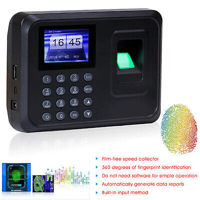Fingerprint Password Time Recorder Clocking Attendance USB Check in Machine TFT