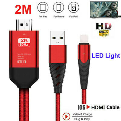 Lightning to HDMI Digital TV AV Adapter Cable For iPad iPhone X 8 7 6 With LED