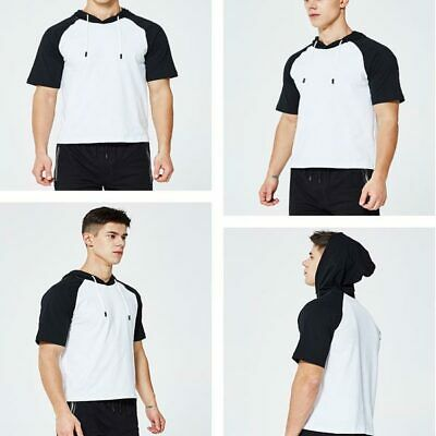 Mens Slim Fit Basic Tops T-shirt Shirts Short Sleeve Hoodie Hooded Casual Muscle