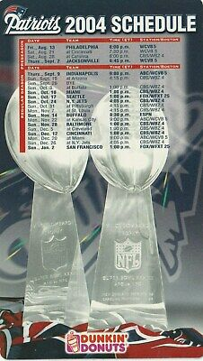 NEW ENGLAND PATRIOTS 2004 DUNKIN DONUTS  SEASON MAGNET SCHEDULE Bx5ac