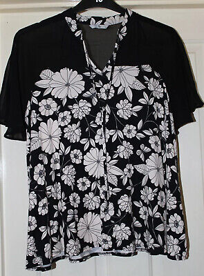 TU Black Top Floral Print Size 16 New Without Tags