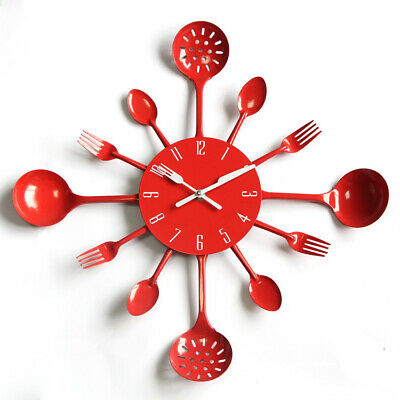 Large Square Modern Cutlery Wall Clock Fork & Spoon Kitchen Home Decoration Gift