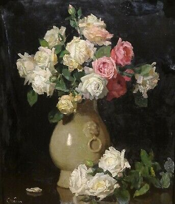 Large 19th Century Still Life Roses In A Vase Flowers Jules Alexandre GRUN