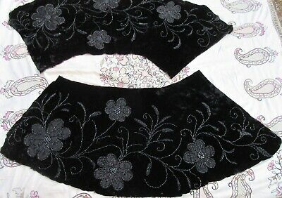 Antique Victorian heavily beaded black velvet fabric pieces probably an old cape