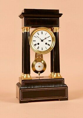 An Original Antique Brass Inlayed French Portico Clock circa:1870