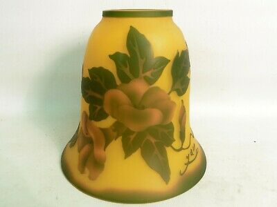 Art Nouveau Galle Style Cameo Glass Lamp Shade, Signed Yall