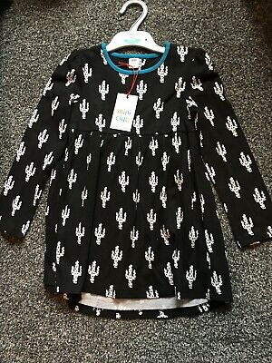 Mini Club Girls Black White Cactus Print Dress Long Sleeve Age 5-6 BNWT