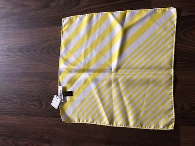 Paul Smith Silk Print yellow Stripes Handkerchief / Pocket Square