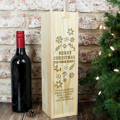 Personalised Christmas Wooden Wine Bottle Presentation Box
