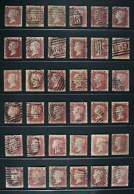 QV, Penny Red, SG 43, THIRTY SIX used examples for plate number identification.