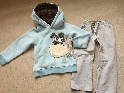 Next Warm Cosy Fleece Boys Dog Joggers Set 3-4 / 4-5 Years Blue Grey Bulldog