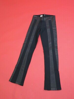 1970s black pleather and mixed synthetic fabric skinny Draycott Capsule trousers