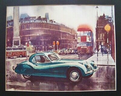 Vintage JAGUAR XK-120 COUPE ART PRINT Watercolor? SIGNED Matted Ready to Frame