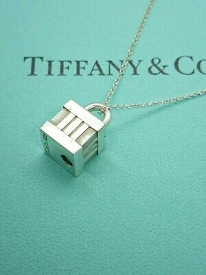 Authentic Tiffany & Co. Atlas Roman Numerals Pendant Necklace Sterling Silver 16