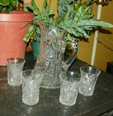 Victorian American Brilliant  Cut Glass Crystal Pitcher With 4 Glasses
