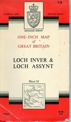 Old Vintage 1959 OS Ordnance Survey One-Inch Map 13 - Loch Inver & Loch Assynt