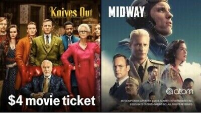 Atom App: $4 Movie Ticket Code to Midway or Knives Out (expires 11/18/19)