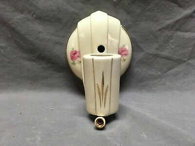 Vtg Deco Ceramic Porcelain Bathroom Floral Wall Light Sconce Fixture 367-19E
