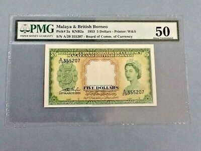 Malaya & British Borneo P-2a 1953 $5 Dollars Graded PMG 50