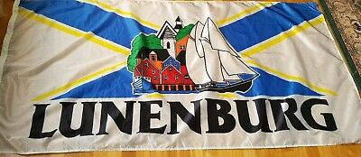 Town Of Lunenburg Nova Scotia Flag 6' x 3' Or Banner Bluenose Ship From Canada