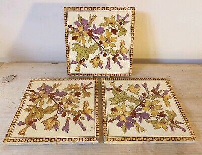 "3 Vintage Wall Fireplace Tiles Antique Aesthetic Reclaimed 6"" x 6"" Used Floral"