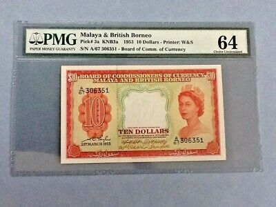 Malaya & British Borneo P-3a 1953 $10 Dollars Graded PMG 64