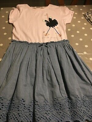 NEXT Girls age 12  denim and cotton dress with logo Brand new never been worn