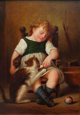 BEAUTIFUL 19th CENTURY SLEEPING GIRL WITH CAT Antique Oil Painting