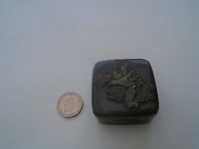 Unusual Japanese antique Meiji period bronze snuff box with gilt panels WOW LOOK