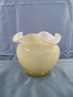 Large Fenton Candleglow Light Yellow Cased Glass Rose Bowl Vase Drapery Design