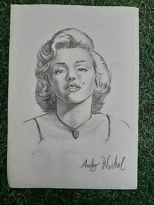 Vintage Andy Warhol Watercolor Drawing On Paper Rare Signed Marilyn Monroe
