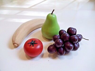 Vintage Wooden Fruit, Banana, Grapes, Tomato and Pear