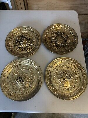 """Lot Of 4 Vintage 10"""" Fruit Embossed Brass Wall Plates All Made in ENGLAND"""