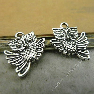 15x Tibetan Silver Owl Animal Pendant Charms Beads DIY Jewellery Accessories /99