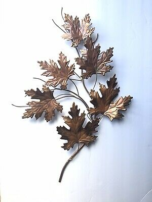 Metal Wall Decor Brass Copper Maple Leaves on branch Mid Century hanging art
